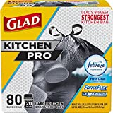 Glad Large Kitchen Drawstring Trash Bags - ForceFlex Kitchen Pro 20 Gallon Black Trash Bag, Febreze Fresh Clean - 80 Count