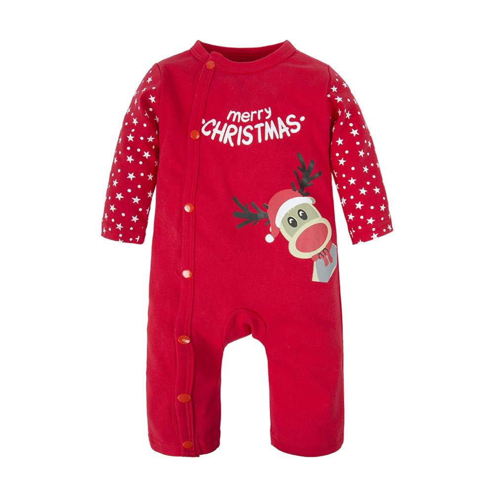BIG ELEPHANT Baby Boys'or Girls'1 Piece Elk Christmas Long Sleeve Romper Pajama M03