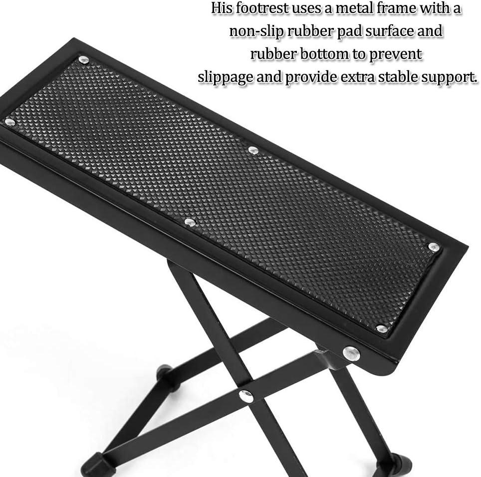 Repose-Pied de Guitare pour Guitare Classique R/églable en Hauteur Tabouret de Guitare Pliable Anti-d/érapant P/édale en M/étal Accessoire pour Guitare