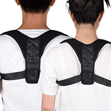 a3461a3e0 Amazon.com   wewa98698 Premium Unisex Adjustable Upper Back Brace Clavicle  Support Posture Corrector - Black 37-45 Inches   Beauty