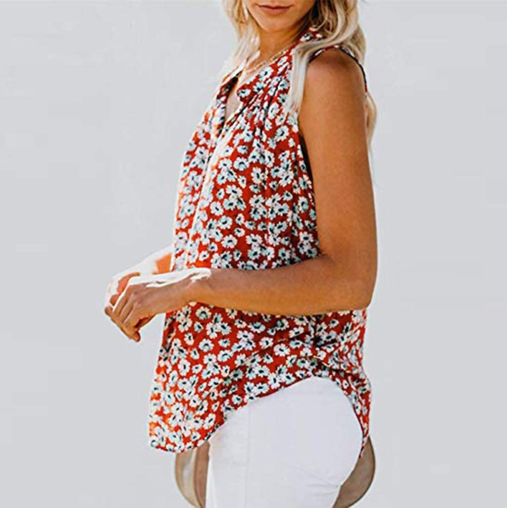 ASERTYL Womens V Neck Tank Tops Floral Print Summer Cami Shirt Strappy Sleeveless Blouses