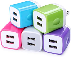 USB Wall Charger, FiveBox 5Pack 2.1A Dual Port USB Adapter Wall Charger USB Plug Charging Block Charger Brick Charger Cube Charger Box Compatible iPhone 11/Xs/XR/X/8/7/6, Samsung, Android, LG, Moto