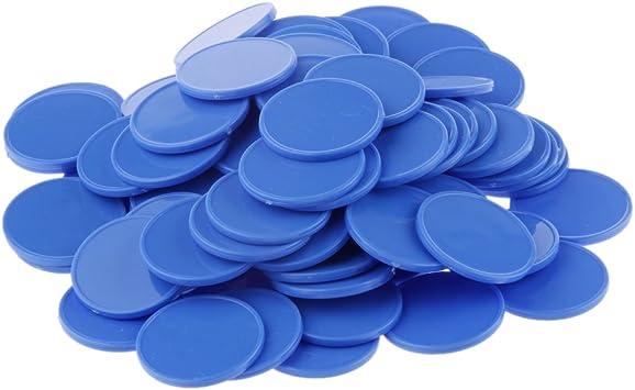 sharprepublic 100x De Póquer del Casino Fichas De Bingo Marcadores De Plástico De Juguete De Regalo Juego De Mesa Contador Azul: Amazon.es: Juguetes y juegos