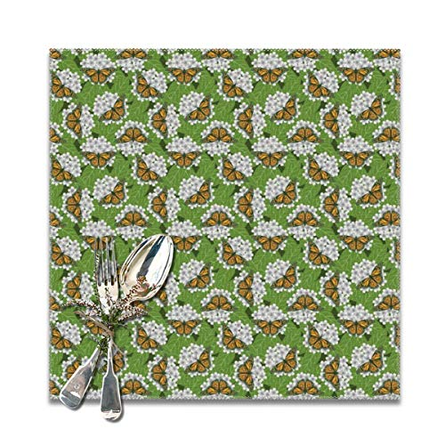 TNIJWMG Monarch Butterflies Placemats for Dining Table Set of 6 Heat Insulation Kitchen Non Slip Table Mats
