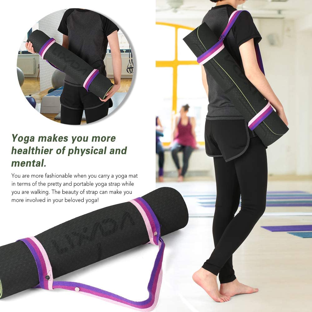 Carrying Strap for Floor Workout Fitness /& Hot Yoga 72x 24 Lixada Yoga Mat Non Slip Pilates Mat TPE Eco Friendly Exercise Mat with Body Alignment Lines