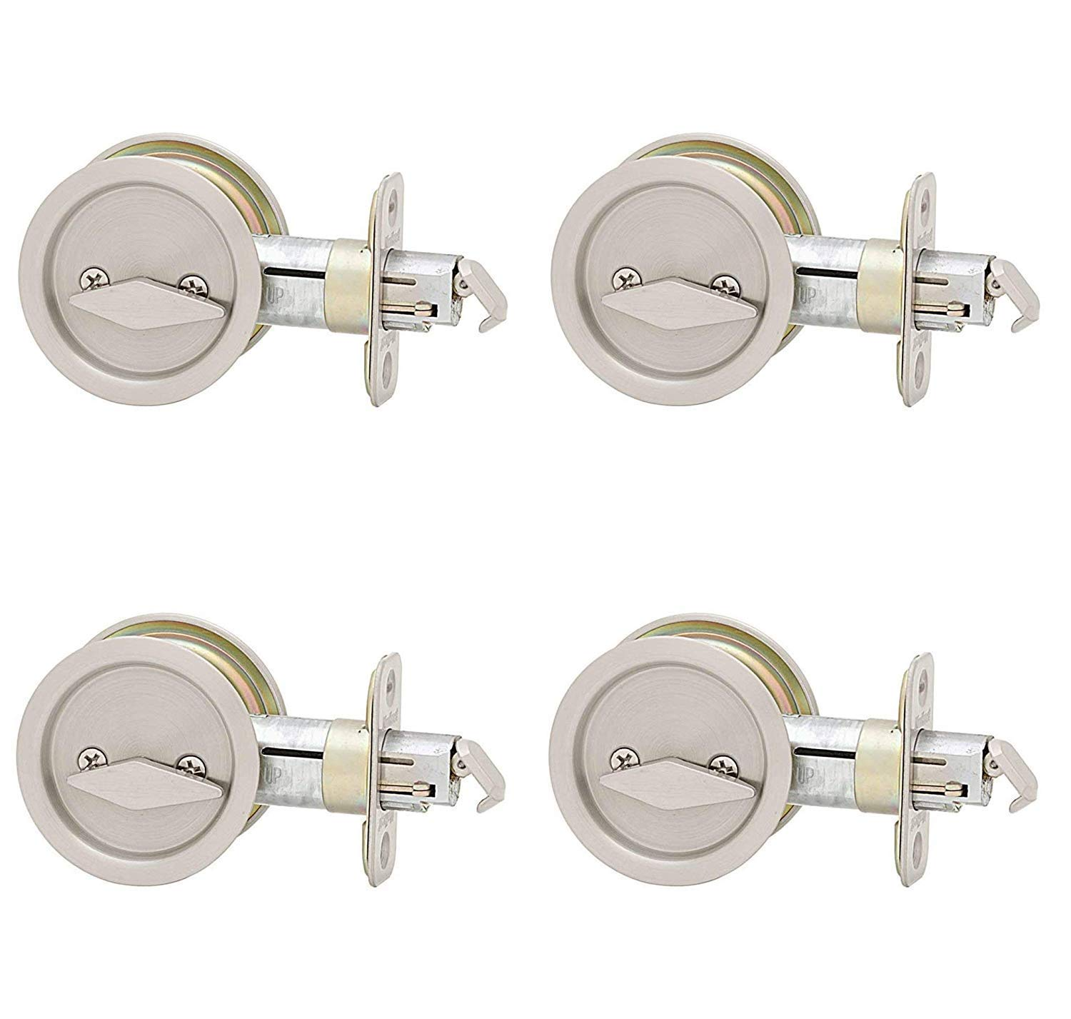 Kwikset 335 Round Bed/Bath Pocket Door Lock in Satin Nickel (Pack of 4)