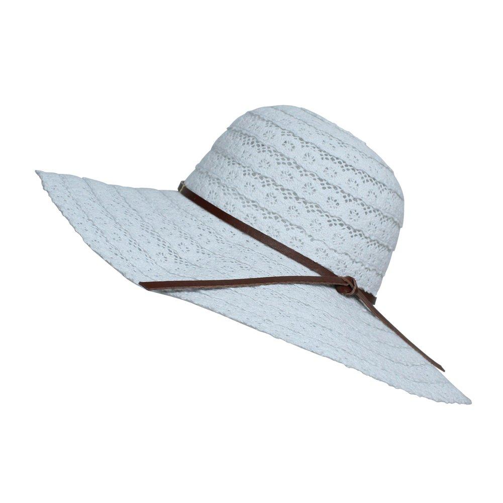 sornean Summer Beach Cotton Hat Sun Visor Hat,Foldable Floppy Wide Brim Travel Hat for Women,Fixed Brown PU Leather Bowknot(White,Big Brim)