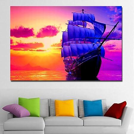 NIMCG Lienzo Sunrise Impreso con Colorido Cielo y Barco ...