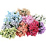 WINGOFFLY 288pcs Mixed Color Artificial Pip Berries with Stem DIY Wreath Headbands Candy Box Gift Accessories Simulated Berry for Wedding Festival Party Decor