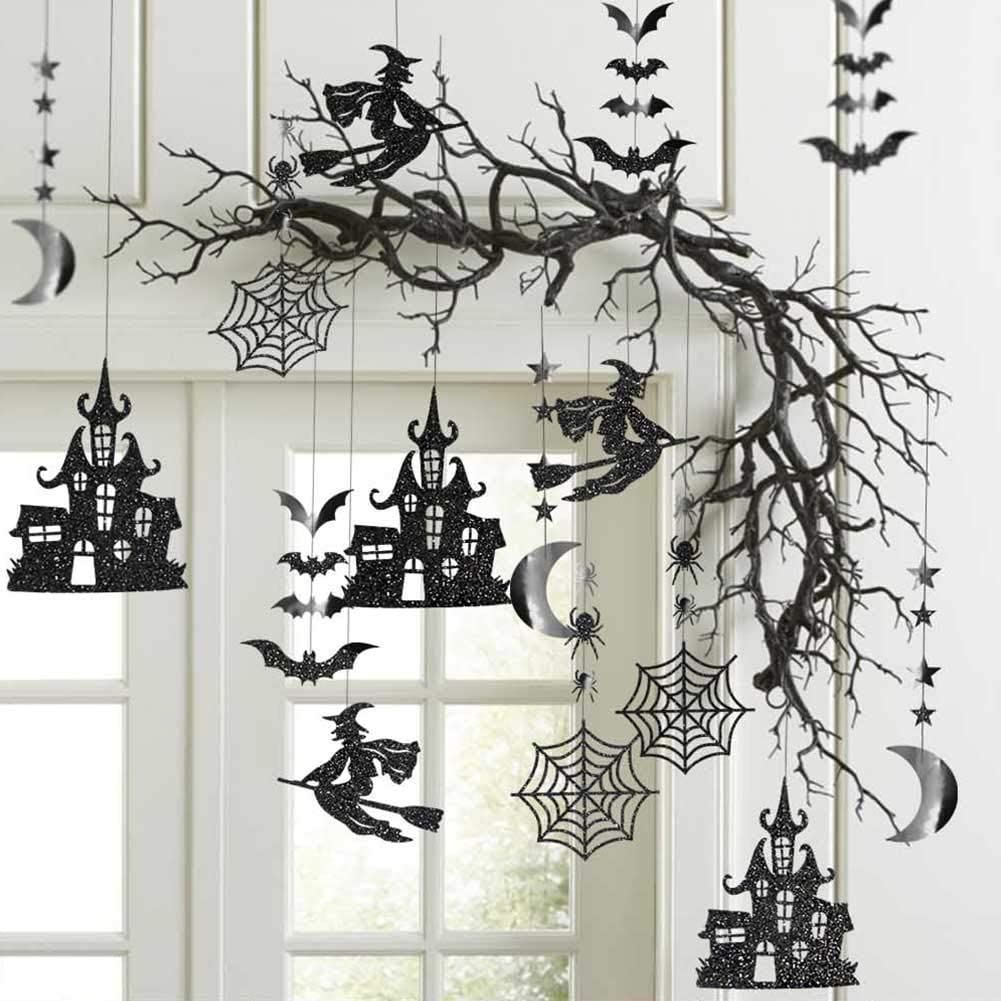 Cheerland Glitter Black Halloween Party Garland Kit Birthday Decorations Hanging Witch Bat Spider Haunted House Star Moon Decor Streamers Backdrop Birthday Baby Shower Home Office Classroom Decor