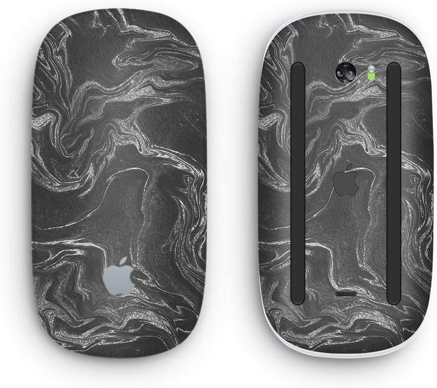 Black & Silver Marble Swirl V4 - Design Skinz Premium Vinyl Decal for The Apple Magic Mouse 2 (Wireless, Rechargable) with Multi-Touch Surface