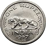 1947 INDIA under BRITISH UK King GEORGE VI Rupee Coin INDIAN TIGER i55224