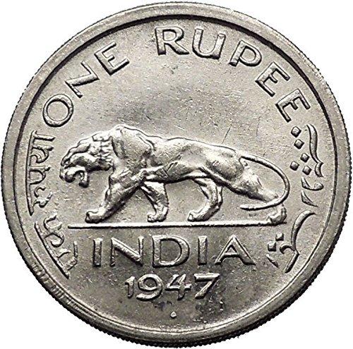 1947 INDIA under BRITISH UK King GEORGE VI Rupee Coin INDIAN TIGER i55224