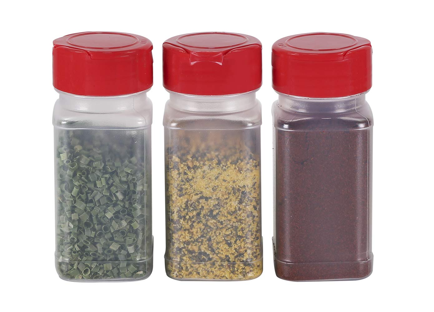 Confectionary Toppings Heavy-Duty Plastic Spice Jars w//Sifter Lids Pinnacle Mercantile Square 4oz Seasonings Empty 12-Pack Clear Reusable Containers for Herbs