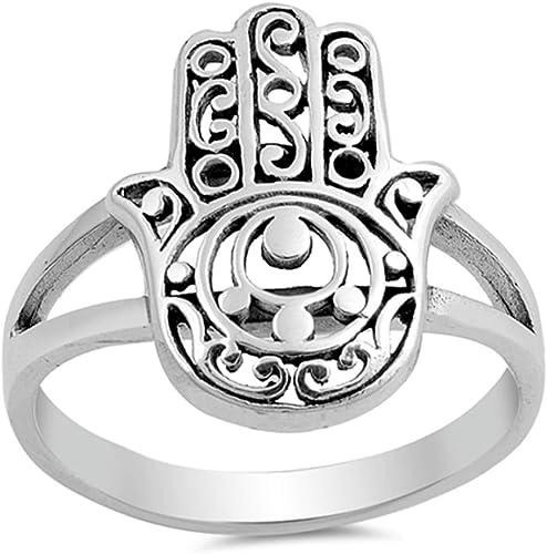 Swirl Hand of Hamsa Band Evil Eye .925 Sterling Silver Ring Sizes 5-10