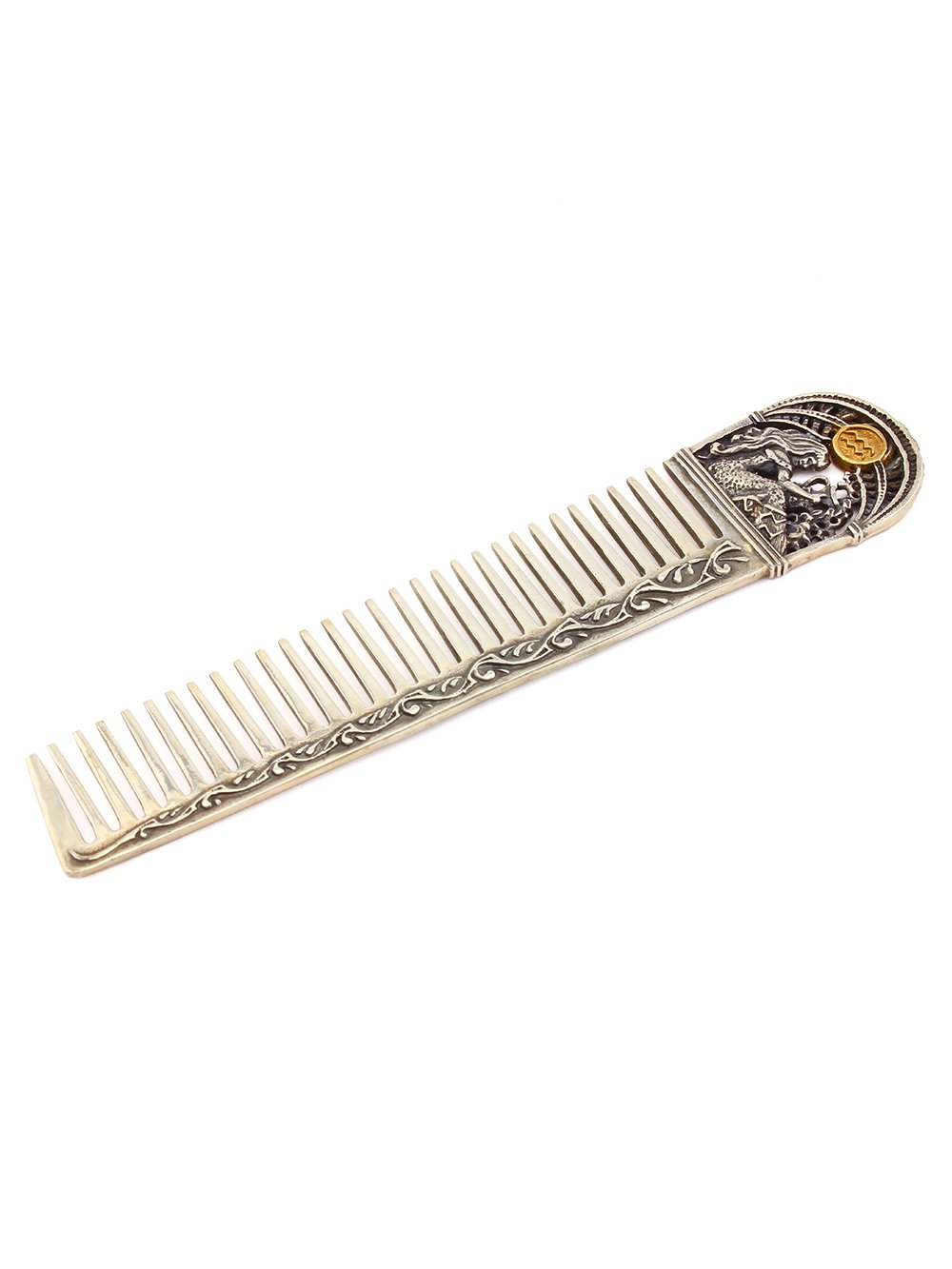 Silver Hair comb with Zodiac Horoscope Astrology Sign ''Aquarius''