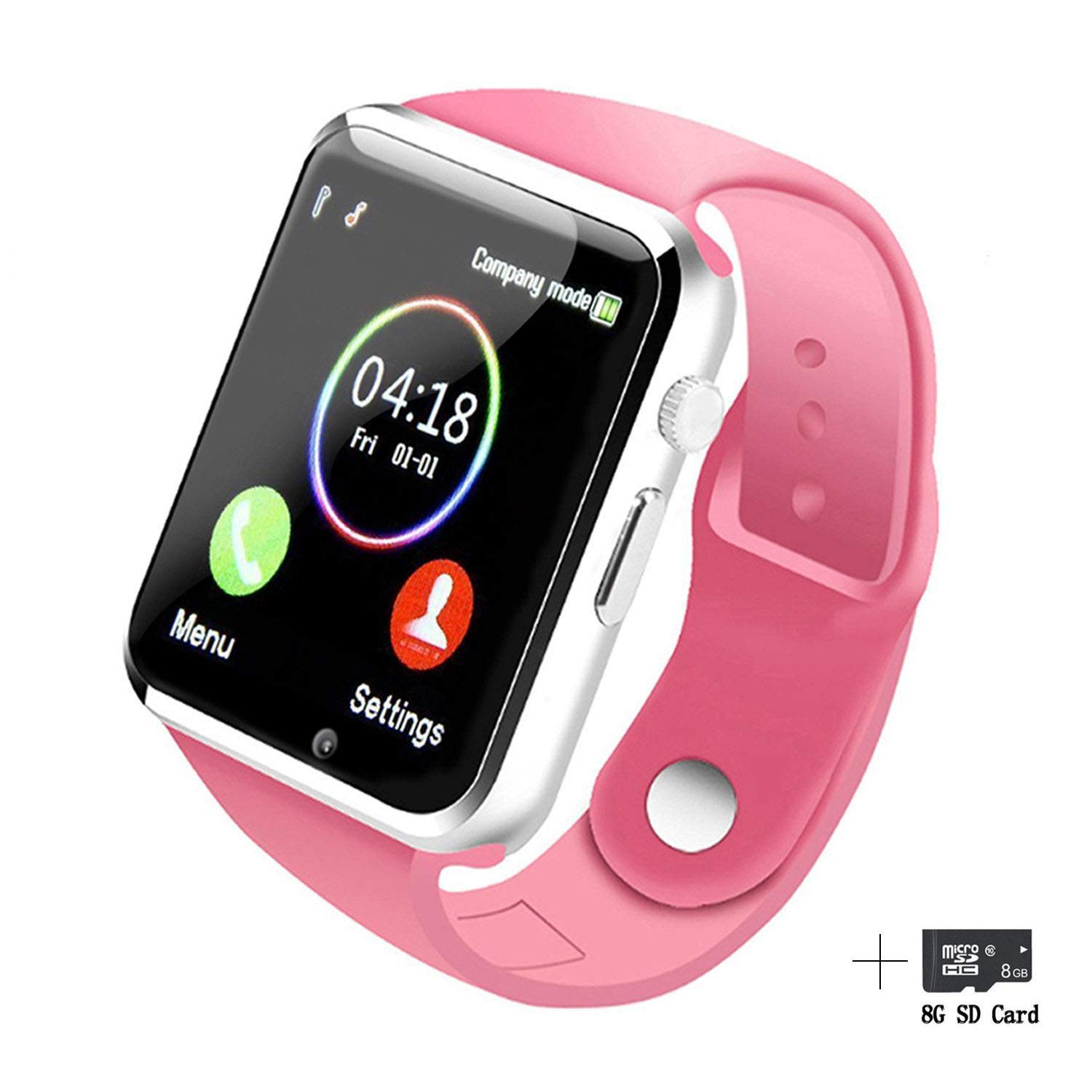 Fitzladd Smart Watches Bluetooth Smart Watch A1 Touch Screen Smart Wrist Watch Phone with SIM Card Slot Camera Pedometer Sport Tracker for iOS iPhone Android Samsung LG for Men Women Child (Pink)