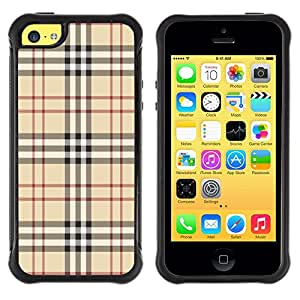 All-Round híbrido Heavy Duty de goma duro caso cubierta protectora Accesorio Generación-II BY RAYDREAMMM - Apple iPhone 5C - Fashion Brand Fabric Pattern Style Brown Classic