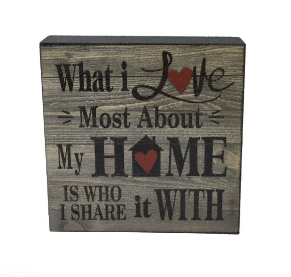 Gerson Company 6'' What I Love Most About My Home Wood Sign