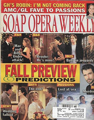 Soap Opera Weekly Magazine - September 4, 2001 - Fall Preview & Predictions l Roger Howarth & Kassie DePaiva l Robert Kelker-Kelly l Drake Hogestyn & Deidre Hall