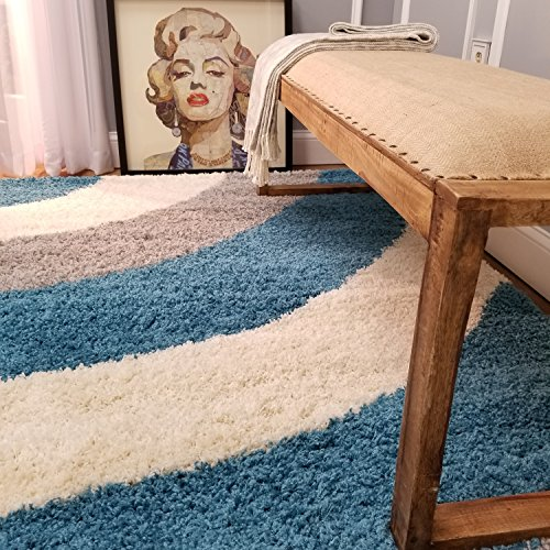 Maxy Home Shag Area Rug 5x7 | Wave Curve Turquoise Blue Gray Ivory Shag Rugs for Living Room Bedroom Nursery Kids College Dorm Carpet by European Made MH10
