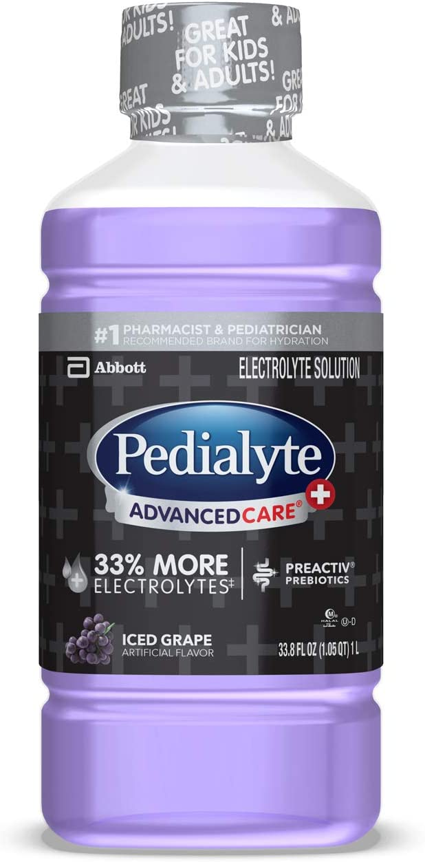 Pedialyte AdvancedCare Pedialyte AdvancedCare Plus Electrolyte Drink with 33% More Electrolytes and Has PreActiv Prebiotics, Iced Grape, 1 Liter, 4 Count