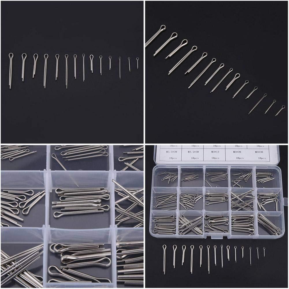 clip de fixation rapide M1-M3 Assortiment de goupilles /à goupilles en acier inoxydable 304 15 sortes de goupilles /à clip