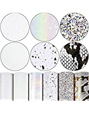Fine Chunky Glitter Patent Metallic Litchi Skin Texture Holographic Printed Pattern Faux Leather Sheets