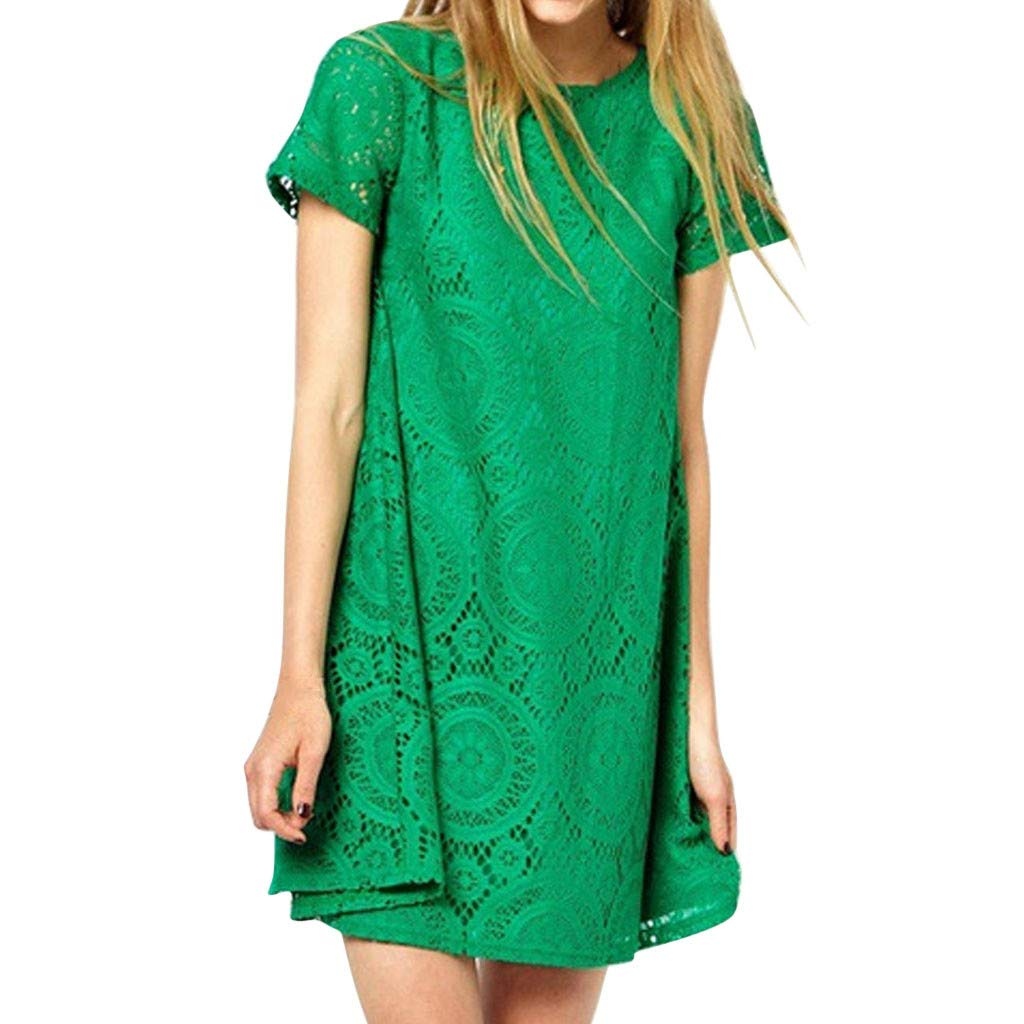 Kiminana Fashion Sexy Plus Size Solid Color Short-Sleeved Round-Neck lace Openwork Dress Green