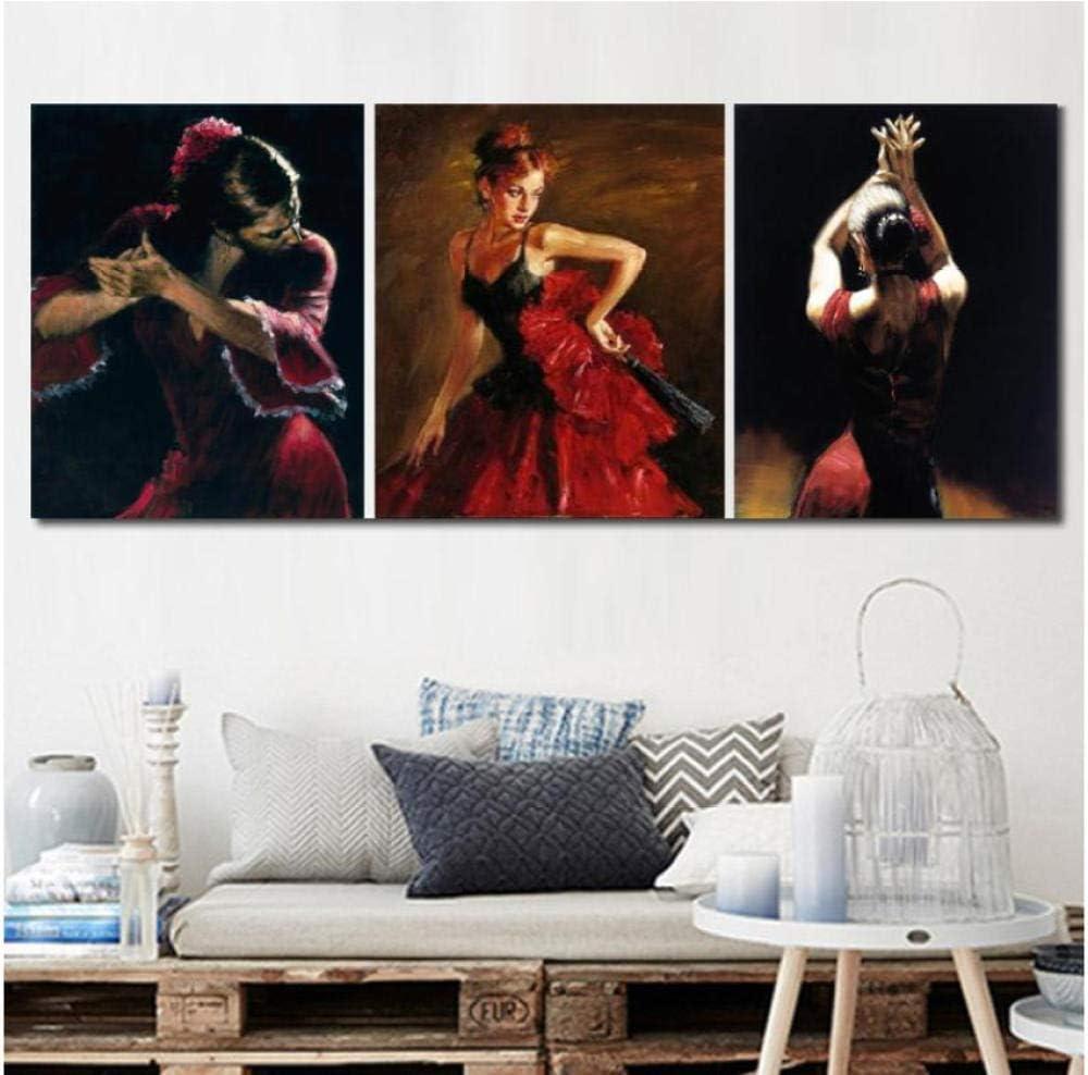 Toile Art Danseur De Flamenco Espagnol Peintures Belle Femme Dansant en Robe Rouge Imprim/é Oeuvre pour La D/écoration Murale 50x70 cm X 3 sans Cadre