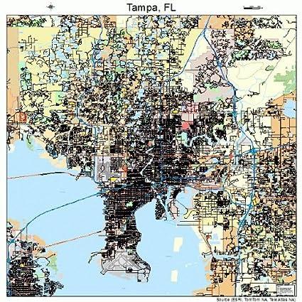 Amazon.com: Large Street & Road Map of Tampa, Florida FL - Printed ...
