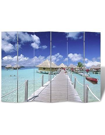24086013fd6 vidaXL Biombo impresión de Playa Divisor Sala Separador