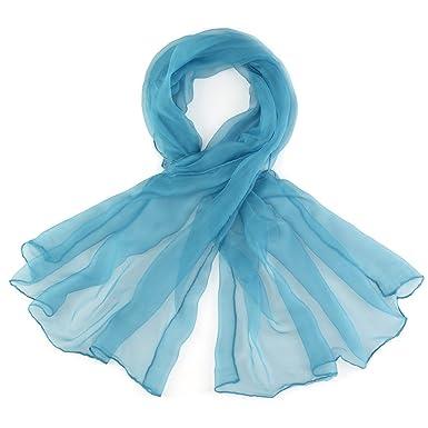 2d5ea1d18dfa Foulard mousseline soie Bleu pétrole uni - Couleur - Pétrole  Amazon ...