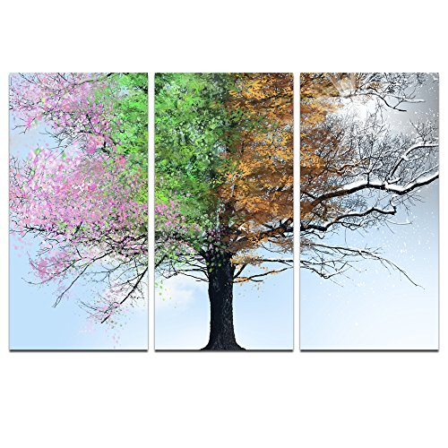sechars - 3 Panel Wall Art, Colorful Four Seasons Tree in Sunshine Canvas Print Painting, Large Giclee Artwork for Modern Home Living Room Decor Framed Ready to Hang
