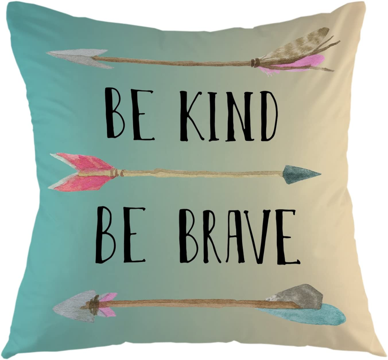 "oFloral Decorative Throw Pillow Cover Be Kind Be Brave Inspirational Quote Arrow Pillow Case Watercolor Bohemian Square Cushion Cover for Sofa Couch Home Car Bedroom Decoration 18"" x 18"" Turquoise"