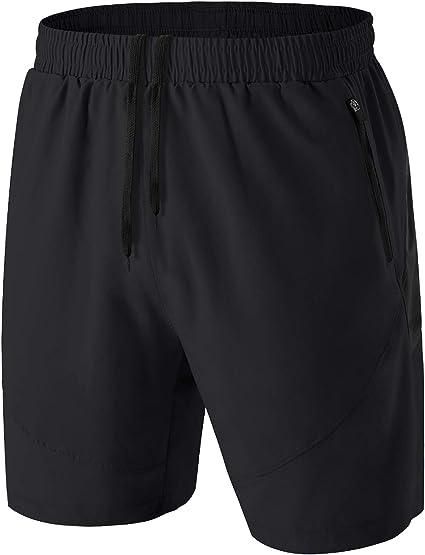 Pantalones Cortos Hombre Running Transpirable Shorts Deportivos Secado Rápido Pantalón Correr con Bolsillo con Cremallera