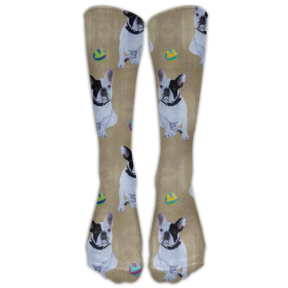 Gold Bulldog-French Ball Unisex Novelty Knee High Socks Athletic Tube Stockings One Size