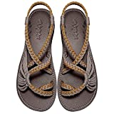 Everelax Women's Flat Sandals Orange Grey 7B(M) US