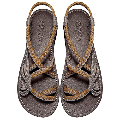 Everelax Women's Flat Sandals Orange Grey 9B(M) US (Wearing A Ring On Your Little Finger)