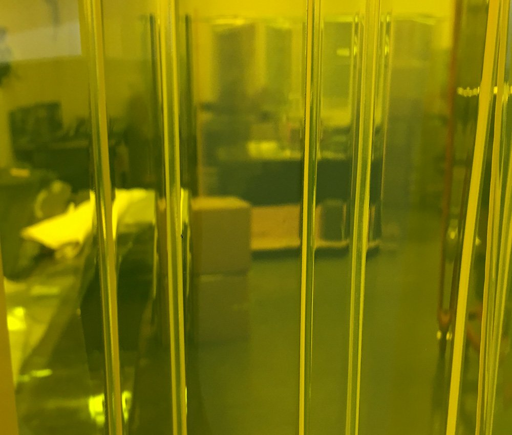 Common Door Kit Height 9 ft 72 in. Hardware Included Strip-Curtains.com: Strip Door Curtain 6 ft Yellow Ribbed 8 in Strips with 100/% Overlap Width X 108 in.