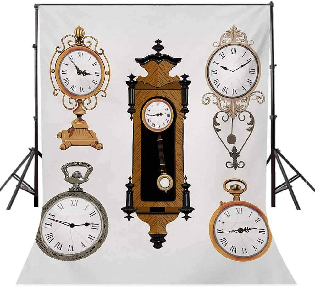 Clock 10x12 FT Backdrop Photographers,Vintage Styled Clocks Arrangement Old Fashioned Pattern in Antique Theme Design Background for Photography Kids Adult Photo Booth Video Shoot Vinyl Studio Props