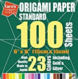 [Standard 100 Made in Japan] Taro's Origami Studio Premium Japanese Origami Paper 100 (6 inch, 200 sheets, single side 23 colors including gold and silver)