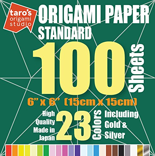[Standard 100 Made in Japan] Taro's Origami Studio Premium Japanese Origami Paper 100 (6 inch, 200 sheets, single side 23 colors including gold and silver) ()