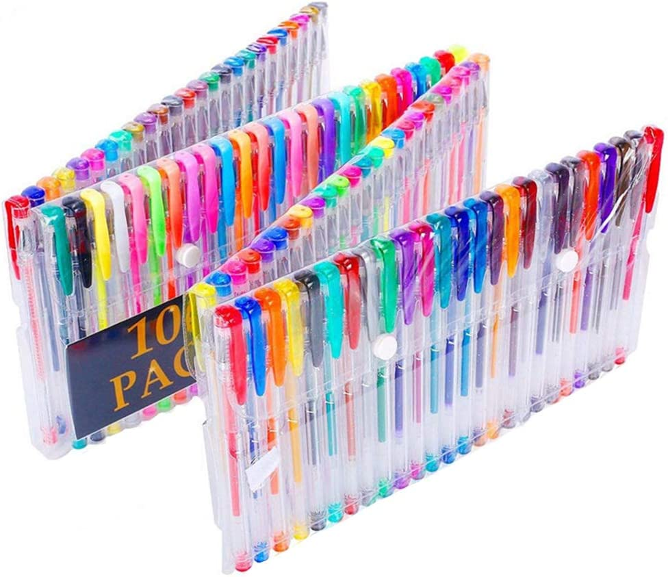 Yuxiale 100 Colors Gel Pen Set Plus Perfect for Adult Coloring Books Drawing and Writing Art Markers