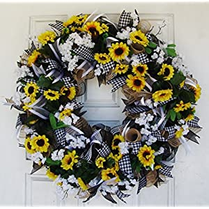 Black White & Yellow Summer Sunflower Front Door Deco Mesh Wreath, Spring Fall Decor, Burlap Wedding Farmhouse, French Country 4