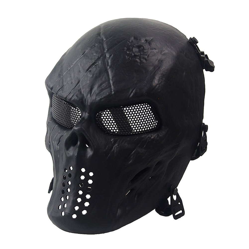 NINAT Airsoft Skull Masks Full Face - Tactical Mask Eye Protection for CS Survival Games BBS Shooting Masquerade Halloween Cosplay Movie Props Zombie Scary Skeleton Masks Black by NINAT