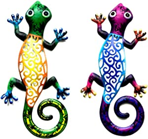 Metal Gecko Wall Decor Art Set of 2 Hanging for Outdoor Backyard Porch Home Patio Lawn Fence Decorations Wall Sculptures