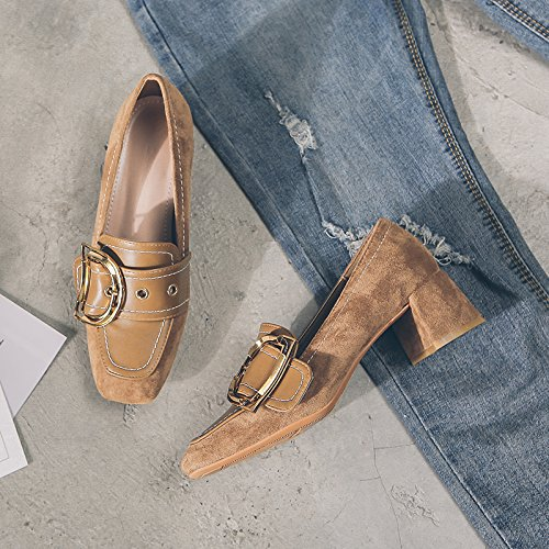 GAOLIM The Head Of The High-Heel Shoes In The Spring With Single Shoes Woman Detained For Light-Women Shoes Women Shoes Thick With The Shoes Of,36, Brown