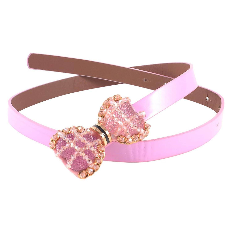 Women Glistening Plastic Beads Bowknot Decor Press Buckle Faux Leather Belt Rose Pink