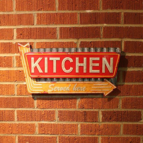 Vintage parts USA DINER Kitchen 1229990 Yellow Arrow Retro Style DINER Kitchen Wall Embossed Metal SIGNMom/Dad ()